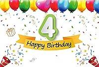 新しいハッピー4歳の誕生日の背景7x5ft 4歳の子供Bdayパーティーの写真の背景Prek学校のイベント娘の息子赤ちゃんの写真デジタル壁紙画像booth小道具