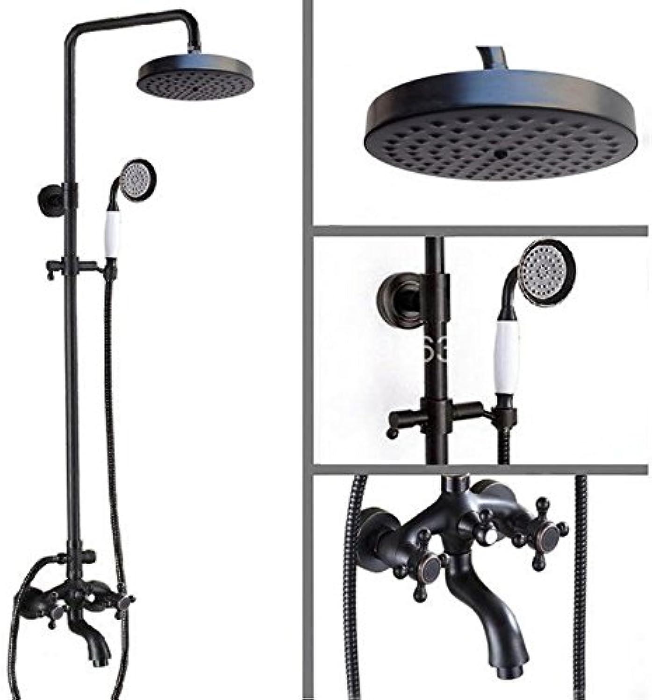 Luxurious shower Schwarzes l eingerieben Bronze Regendusche System Hand Duschkopf Badewanne Mischbatterie - Wandhalterung ars 457, schwarz
