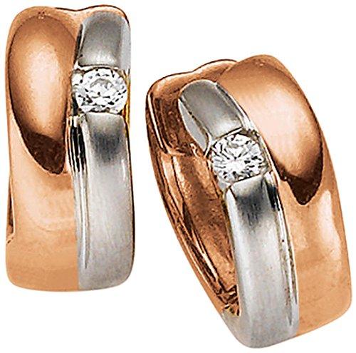 Viventy Damen-Creolen Silber vergoldet rhodiniert Zirkonia weiß - 771244