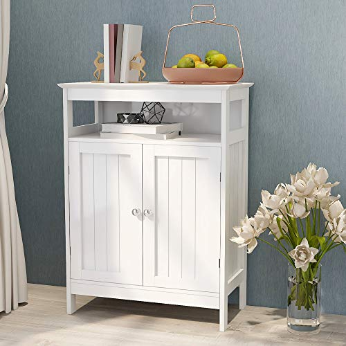 Tdbest Bathroom Cabinets Free Standing, Storage Cabinets with Double Louvered Doors and Shelves (Wooden) White Cabinet