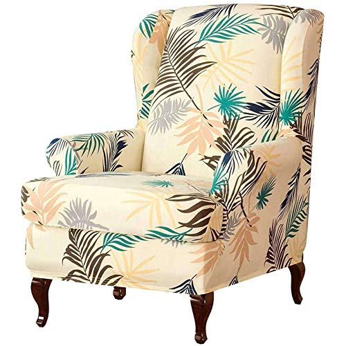 SHAFAJNC Armchair Cover,Furniture Covers for Wingback Chairs Super Soft Wingback Chair Slipcover Anti Scratch Wing Chair Covers Thicken Jacquard-Beige