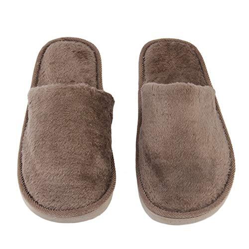 CVBN Felpa Interior Hogar Mujeres Hombres Zapatos Antideslizantes Suaves y cálidos Zapatillas silenciosas de algodón, café, 44-45