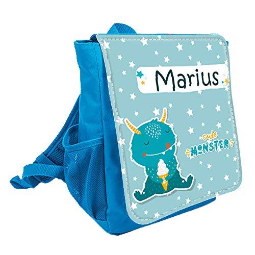 wolga-kreativ Kleiner Rucksack Kindergartentasche Mädchen Jungen Monster EIS Kinderrucksack Kindergartenrucksack Jungs Kinder mit Namen Tagesrucksack Kindergarten Kindertasche