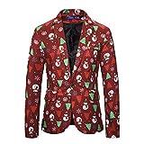 MISSMAO_FASHION2019 Herren Sakko Polyester klassisch Reverskragen Blazer EIN Knopf Jackett Anzug Slim Fit bequem mit Weihnachtsbaum und Schneemannmuster Rot L