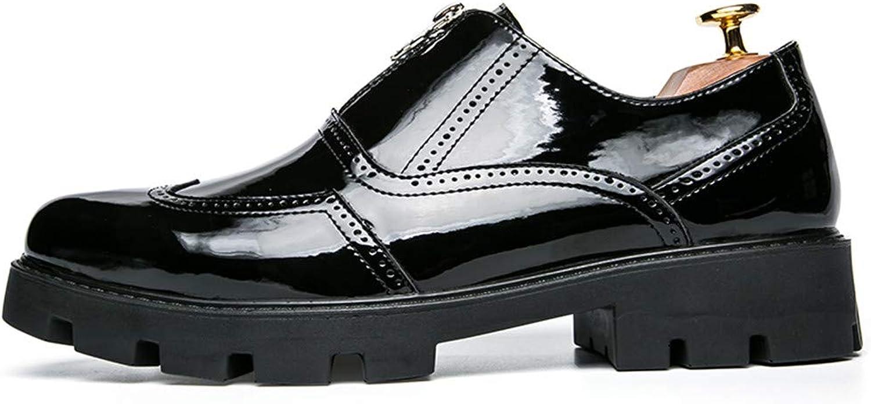 Lackleder Männer PU Mode glatt glatt glatt Oxford Schuhe Kleid dicke Ferse Schuhe Reißverschluss dekorative Schuhe Brock Schuhe Wingtip Formelle Kleidung Wingtip ( Farbe   Schwarz , Größe   43 EU )  3fde97