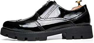 Sygjal Men's PU Leather Oxfords Chunky Heel Front Zipper Decoration Slip On Shoes (Color : Black, Size : 40 EU)