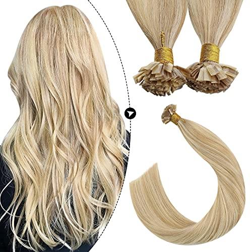 Ugeat 35 cm Flat Tip Extensions de Cheveux Naturelles Keratine Remy Hair Pose Extension a Chaud Blond Caramel #27 Highlighted Bleach Blond #613 50G/50