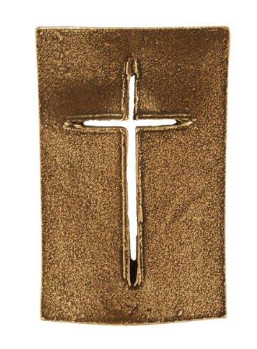 Hochwertiges Stehkreuz »Schild«, 8,5 x 5,5 cm Standkreuz aus Bronze, Tischkreuz
