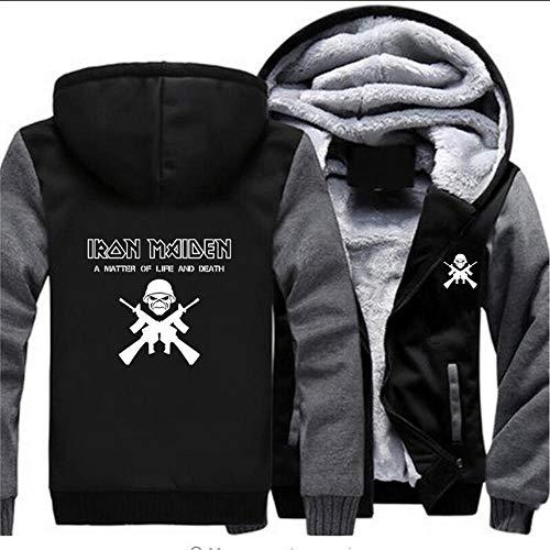QAQQQ Felpa con Cappuccio da Uomo Iron Maiden Stampa Unisex Sportswear Zipper A Maniche Lunghe Capispalla Addensare Felpa in Pile Felpa Calda C-X-Large