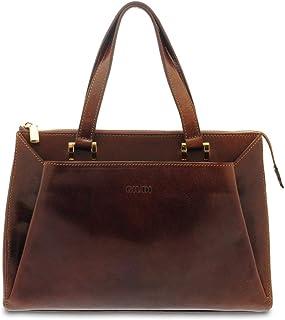 GIUDI ® - Borsa donna classica in pelle vacchetta, vera pelle, borsa a mano, Made in Italy. (Marrone)