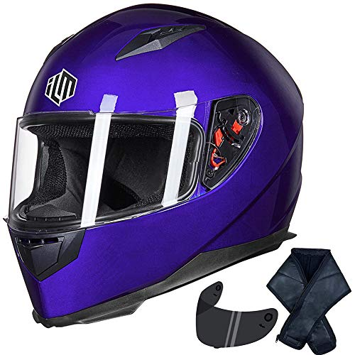 ILM Full Face Motorcycle Street Bike Helmet with Removable Winter Neck Scarf + 2 Visors DOT (L, Blue)