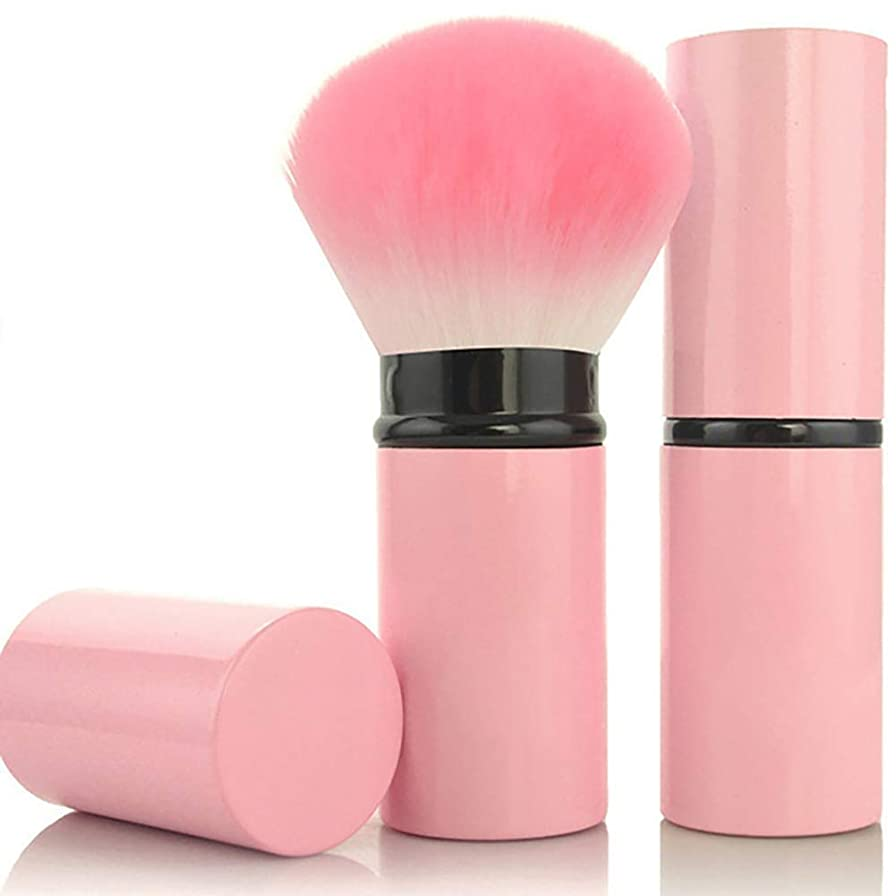 シンポジウム靴下バリアプロフェッショナルアングルロングミネラルフェイスルースパウダーブラッシャー化粧品メイクアップブラシ (Color : Pink)