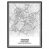 Vilnius Lithuania Map Wall Art Canvas Print Poster Artwork Unframed Modern Black and White Map Souvenir Gift Home Decor