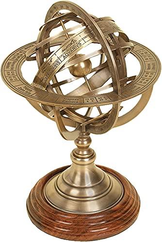 Brass Armillary Sphere Engraved Horoscope Globe Nautical Table Top Armillary Globe for Decorative
