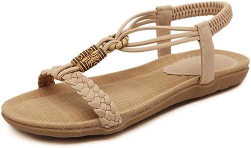 ZPSPZ sandalen damen Ladies& 039;s Summer Open -Toed Sandals Bohemian Beaded Flat -Soied schuhe,Aprikose,Vierzig