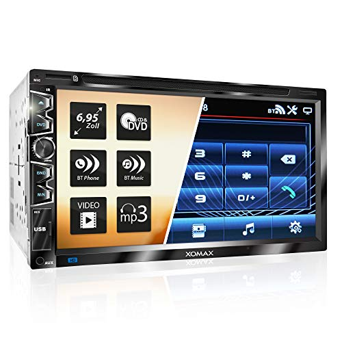 "XOMAX XM-2D6907 Autoradio mit Mirrorlink für Android I kapazitiver 6,9"" / 17,5 cm Touchscreen Bildschirm I DVD, CD, USB, SD, AUX I Bluetooth Freisprecheinrichtung I 2 DIN"