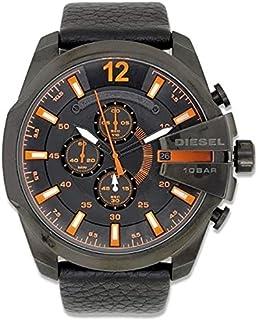 Diesel DZ4291 Men's Mega Chief Black Leather Strap Chronograph Watch