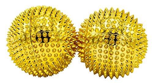 chi-enterprise 2 magnetische Akupressur-Massage-Kugeln in gold mittelgroß I Für wohltuende & entspannende Massagen oder als Skill-Ball zum Stressabbau I Massageball Ø 47 mm I Set 2 Stück