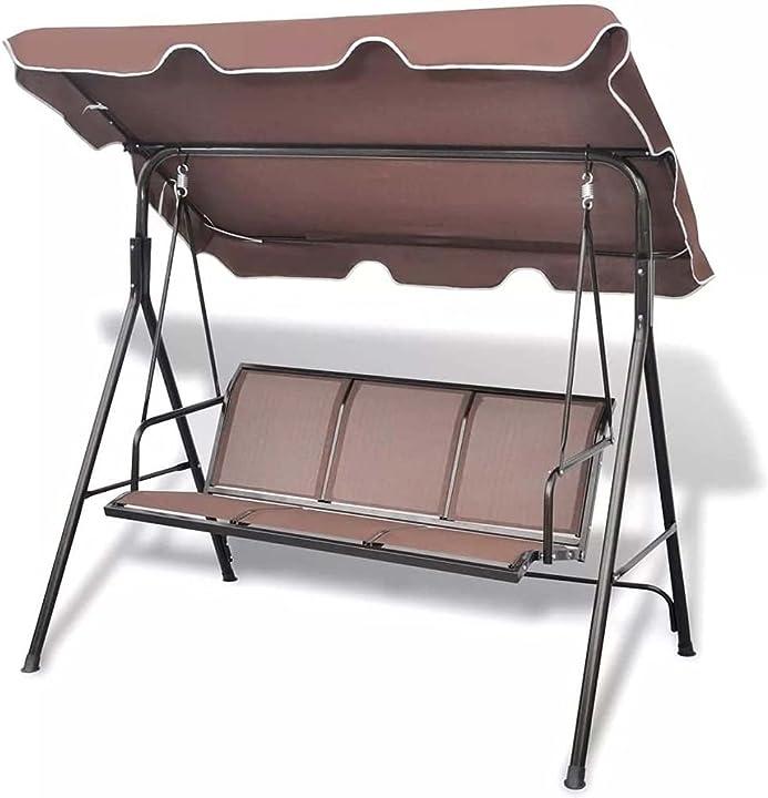Dondolo da giardino 3 posti colore grigio tetto parasole struttura in acciaio ?bakaji B0967XR6MQ
