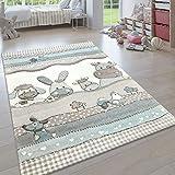 Paco Home Kinderteppich, Moderner Kinderzimmer Pastell Teppich, Niedliche 3D Tiermotive, Grösse:160x230 cm, Farbe:Beige