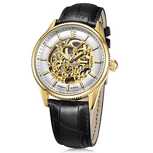 HKX Reloj Reloj mecánico con Correa de Cuero, Reloj mecánico automático de Acero Inoxidable para Hombres, Reloj Hueco para Hombres, Correa de Cuero, (Masculino y Femenino), Dorado