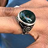 Blood Stone Ring For Mens / 925 Silver Statement Ring/Natural BloodStone Round Cab Gemstone Ring/Arabic Style Ring For Mens/Handmade Jewelry, Gift for Mens
