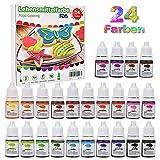 24er x 6ml Lebensmittelfarbe Set, Ungiftig Umweltfreundlich Flüssige Pigment für Kuchendekoration,...