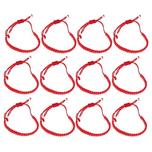 NUOBESTY Pulsera Unisex Hecha a Mano de Cuerda roja Ajustable Pulsera para la Prosperidad y el éxito 12 Piezas