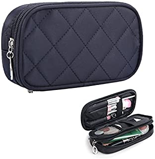 HOYOFO Double-Sided Cosmetic Pouch Bag for Travel Makeup Brush Organizer Makeup Bag, Black Small