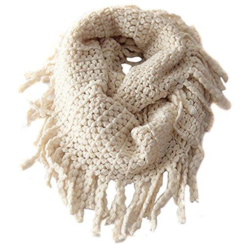 lansue Bébé Enfants Enfant Unisexe Knit Pompon col écharpe Beige Circle Loop écharpes écharpe pour Keep Warm Ronds à Cold Weather,