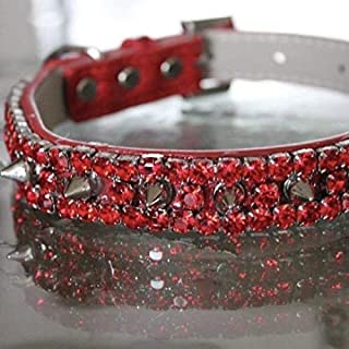 Dog Collars, Ruby Red Rhinestone and Spiked Collar - Red Hot Chili Peppers Inspired Dog Jewelry Collar Necklace, Size M-3XL RockStar Pet Collars TM