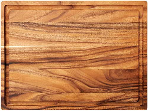 Villa Acacia Wood Cutting Board (24 x 18 x 1.25, Acacia + Groove)