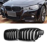 SNA ABS F30 Grill, Front Kidney Grille for 2012-2018 BMW 3 Series F30 F31 (Double Slats Matte Black Grills, 2-pc Set)