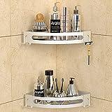 GeekDigg 2-Pack Shower Shelves for Tile Walls, Aluminum Corner Shower Basket Caddy for Shampoo Conditioner, Bathroom / Kitchen Storage Organizer with Razor Holder No Drilling (Not brushed nickel)