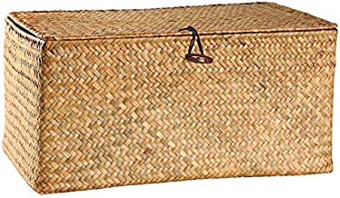 """DOKOT Rectangular Handwoven Seagrass Storage Basket with Lid and Home Organizer Bins,S (10.2""""x5.5""""x4.3""""H), Yellow"""