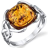 Sterling Silver Baltic Amber Irish Celtic Design Ring with Cognac Color Large Cushion Shape Stone 7