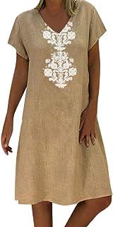 ReooLy Damen Casual Feste, gekräuselte Taschen O-Neck Shift Daily Button-Dekor-Kleider