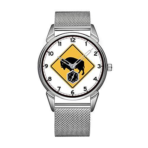 Mode Herrenuhr silbrig Edelstahl wasserdicht Uhr Herren Top-Marke Herrenuhr Uhr Buffalos Roaming, Verkehrswarnschild, Utah, USA Uhren