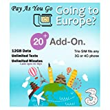 PrePaid Europe (UK Three) sim Card 2GB/5GB/12GB Data+Unlimited Minutes+Unlimited Texts for 30 Days with Free Roaming/USE in 71 Destinations Including Europe,South America and Australia (12GB Data)