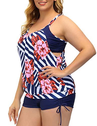 Hanna Nikole Women Plus Size Athletic Swimsuit Two Piece Bathing Suit Swimwear Striped 18W