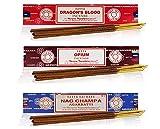 Satya Nag Champa - Set de Incienso (3 x 15 g, Incluye champú de Naga, opio, Sangre de Dragones)