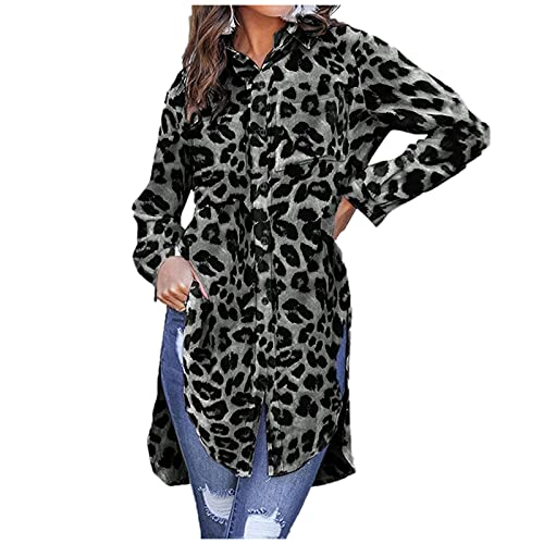 Fcostumer Bluse Damen Langarm Blusen Frauen Leopard Tshirt Loose Fit Elegant Tunika Tops Longshirt Oberteile Hemd Oversize Shirt Damen V-Ausschnitt Streetwear Casual Große Größen