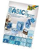 folia 46449 - Motivblock Basics blau sortiert, 24 x 34 cm, 30 Blatt, 10 x Motivkarton, 10 x Motivpapier, 10 x Tonpapier, für vielfältige Bastelarbeiten