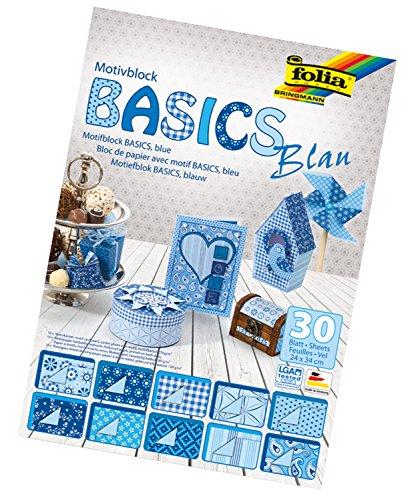 folia 46449 - Motivblock Basics blau sortiert, 24 x 34 cm, 30 Blatt - Grundlage für hochwertige Bastelarbeiten