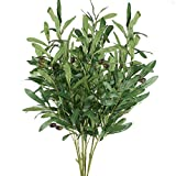 XHXSTORE 4Pcs Artificial Olive Plants Outdoor Plants Faux Olive Branches Artificial Plastic Shrubs Fake Greenery Bush Fake Fruits Plastic Plants Branch for Table Home Wedding Spring Garden Decor