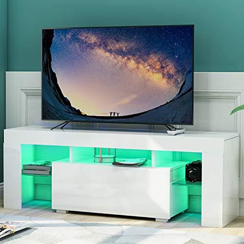 Leisure Zone Weiß TV-Ständer, modernes TV-Schrank in Weiß matt und Hochglanz, TV-Regal, Fernsehtisch, Fernsehschrank für Wohnzimmer mit LED-Lichtern