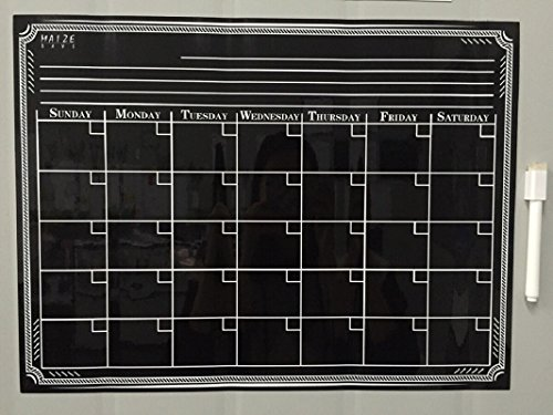 Magnetic Refrigerator Calendar Dry Erase Black Chalkboard Board Design | Monthly for Kitchen Fridge| Use w/ Wet Wipe Fluorescent or Neon Markers … Photo #4