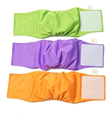 PETTING IS CARING Male Dog Wraps Washable & Reusable Belly Band Diapers Materials Durable Machine Washable Solution for Pets Incontinence Long Travels - 3 Pack Set Size
