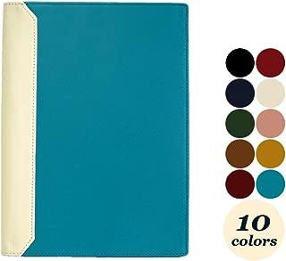 (シールアル) ノートカバー A5サイズ 本革 革 手帳カバー ベルトなし バイカラー 全10色 CLuaR-TC (10.ターコイズ ブルー)