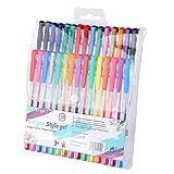 Exerz Bolígrafos de gel de colores 30pz dentro de estuche plástico, esferos con bolígrafo de tinta fina, color vibrante, incluye esferos con tonos de escarcha, neón, metálicos, y clásicos